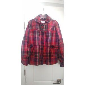 Red Plaid Coat Juniors XL Like New